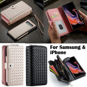 Case For Samsung S21 Ultra For iPhone 11 13 Pro Weave Leather Wallet Cass Cover
