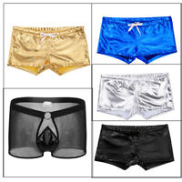 Men Leather Gay Underwear Thong Boxer Brief Drawstring Lounge Shorts Underpants
