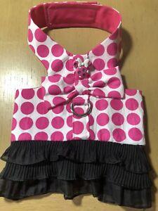 Pink Polka Dot Minnie Handmade Dog Harness M (1453)