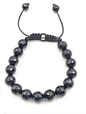 "10mm Genuine Black Onyx Faceted Shamballa Beaded Bracelet 7"" - 8.5"" inches"