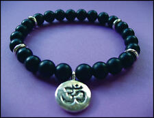 Onyx natural beaded OM' stretch BRACELET - Unisex