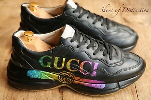 Gucci Rhyton Black Leather Trainers Sneakers Men's UK 10 US 11 EU 44