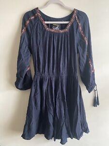 Superdry   Size M   Navy Blue The Festival Fringe Boho Tassel 3/4 Sleeve Dress