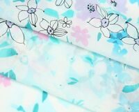 Q61 White with Purple Pink Acqua Blue Flower Floral Print Silk Cotton Fabric