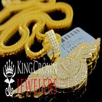 Real Genuine Diamond Bentley Pendant Flying B Logo Wing 10K Yellow Gold Finish