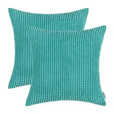2Pcs Square Turquoise Cushion Covers Pillows Shells Corduroy Corn Striped 20X20""