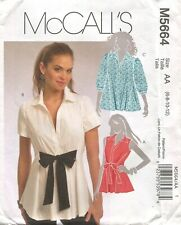 McCall M5664 FF Sewing Pattern Flared Shirt Blouse Front Waist Tie Women 6 - 12
