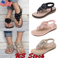NEW Women's Flower Petal Decorated Flat Flip Flop Jelly Thong Sandals Size 5-9
