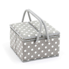 Sewing Basket - Twin Lid Square Sewing Box - Grey Linen Polka Dot - MRLTLE268