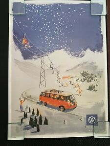 Retro Poster 1961 VW Bulli Samba Split Windshield Bus Alpine Skiing Poster Print