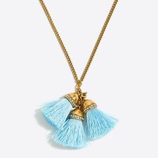 J CREW Factory Multi Thread Reef Tassel Drop Pendant Necklace Gossamer Blue NWT