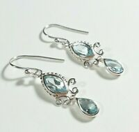 "SIGNED AHM 925 STERLING SILVER DAINTY FACETED BLUE TOPAZ 1 3/8"" HOOK EARRINGS"