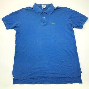 VINTAGE Lacoste Polo Shirt Size Large Tall LT Ringer Short Sleeve Ringer Adult