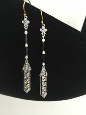 ON SALE Art Deco Inspired Downtown Drop Earrings Silver and Paste