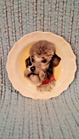 VINTAGE POODLE PLATE ASHTRAY SANFORD FINE BONE CHINA MADE IN ENGLAND