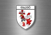 Sticker decal souvenir car coat of arms shield city flag malmo sweden