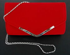 "Red Velour Clutch Purse Handbag Chain Strap Evening Party 10.5""W x 6.5""H (30A)"