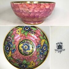 More details for maling — #6386 anemone — rose pink & floral lustre large 21.5cm footed bowl —a/f