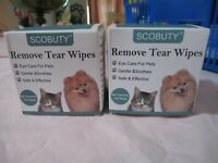 2 Pack SCOBUTY Remove Tear Wipes For Cats and Dogs 130 Pads x 2 exp 4/22 Sealed