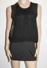 Unbranded Designer Black Chiffon Front Tunic Mini Dress Top Size S/M BNWT #TC77