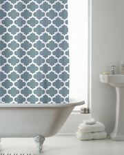 Country Club Shower Curtain 180x180 Moroccan Teal Modern Contemporary White