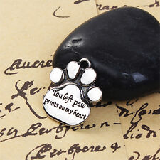 5 You Left Paw Prints On My Heart Antique Silver Charms Pendant 19mm x 23mm(011)