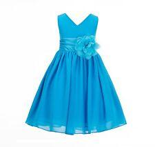 Elegant Yoryu Chiffon V-neck Bodice Flower Girl Dress Wedding Toddler Kids S1503