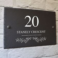 Bespoke House Door Wall Gate Sign Plaque Personalised Number Name Plate Grey A4