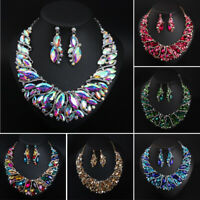 Women Crystal Pendant Bib Choker Chain Necklace Earrings Bridal Jewelry Set New