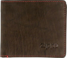 ORIG. ZIPPO MOCCA BROWN LEATHER WALLET MEN'S ** NEW IN BOX **