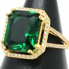 Large 8 Ct Green Emerald Solitaire Ring Women Wedding Birthday Jewelry Sizable