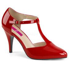 Red Patent Classic Pumps Ankle Strap Mens Crossdresser Tranny Womans Shoes 14 15
