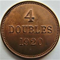 1920 H GUERNSEY 4 Doubles,Lustrous, grading UNCIRCULATED.