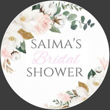 PERSONALISED GLOSS FLORAL WEDDING HEN  BRIDAL SHOWER LABELS,THANK YOU STICKERS