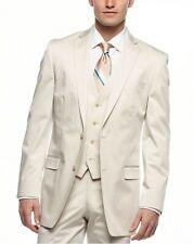 Calvin Klein Mens Tan Classic Fit 2 Button 3 Piece Stretch Cotton Vested Suit