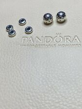 Pandora Silver Shimmering Bangle Pair End Caps 796541CZ + 4 Spacers 798533COO