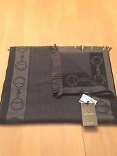 NWT AUTHENTIC GUCCI MEN'S SCARF MADE IN ITALY 100% LANA WOOL LAINE DARK BLUE