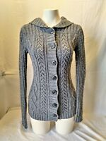 Old Navy Chunky Cable Knit Long Sleeve Women's Gray Hooded Cardigan Size S/P