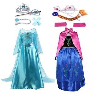 Prinzessin Kleid Elsa Anna Mädchen Kinder Frozen Kostüm Eiskönigin Party Cosplay