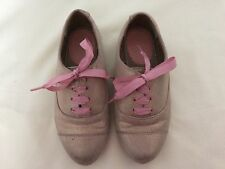 M & S Girls' Gold Sparkle Lace-up Flat Shoes with a Pink Ribbon Shoes Size 28 EU
