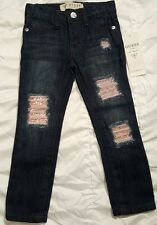 Guess baby girl jeans size 2T **MSRP$46.50** new with tags, rips and pink bling