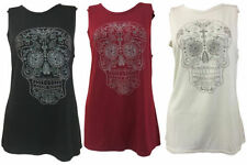Viscose Skull Crew Neck Tops & Shirts for Women