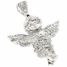 Mini Angel Diamond Pendant 10K White Gold Flying Wings Cherub Charm 0.70 CT