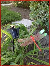 Solar Powered Garden Decor Dancing Flickering Red Dragonfly Stake