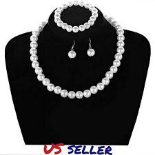Faux Pearl Crystal Necklace Earring Bracelet Set Women Wedding Bridal Jewelry