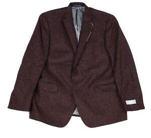 Hart Schaffner Marx Mens Sport Coat Red Brown Size 42 R Tweed Blazer $595 037