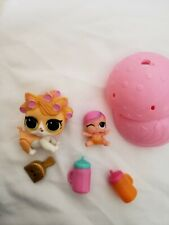 Lol Surprise Lil Doll & Big pet Lot of With Ball Juice Bottles And Dustpan