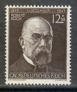 Germany 1944 MNH Mi 864 Sc B251 Bacteriologist, Robert Koch .Medical.Nobel Prize