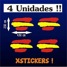 PEGATINAS (4 UNIDADES) - BANDERA DE ESPAÑA - VINILO - Bici - Moto - Coche - Surf