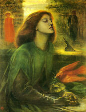 Oil painting Rossetti  - Young lady Beata Beatrix with bird holding a flower